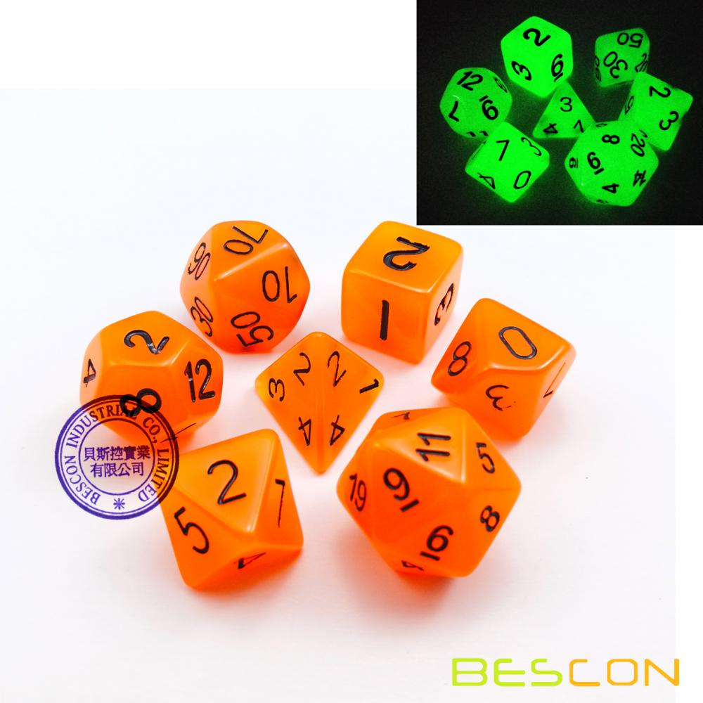 Orange Glow in the Dark Dice Set (7 Dice) for Dungeons & Dragons and Other Role Playing Games