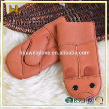 Colorful Children Leather Mittens Cute Thick Fur Lined Mitten Gloves for Girls and boys