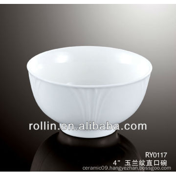 Chinese round crockery bowl, cereal bowl with orchid vein decoration