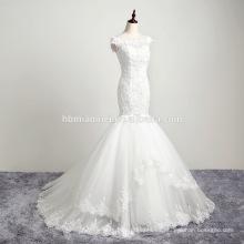 Vestido hecho a medida por encargo Champagne Wedding Dress 2016 de la manga del casquillo