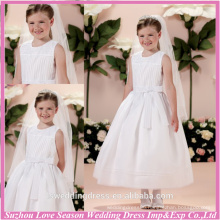 HF2032 jewel neckline sleeveless pleated top bow sash front ball gown organza tea length fancy baby dress