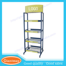 Cost-Effective Solid grocery store blue metal wire baskets display stand