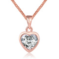 Style occidental K Collier pendentif Zircon en forme de coeur en or Collier en or rose Collier plaqué or Collier