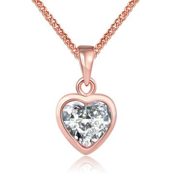 Estilo ocidental estilo K ouro forma de coração colar de pingente de zirconu rosa ouro banhado jóias colar