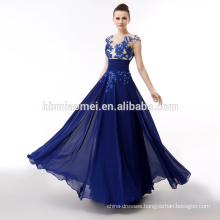 2018 hot sell Royal blue chiffon evening dress2018 aliexpress Amazon hot sell hign neck dress long style evening dress for birde