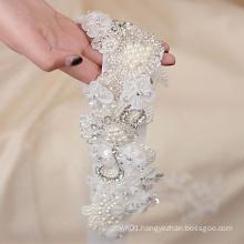 Fashional pearl flower sash belt applique for wedding dress RH1051