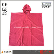 PVC Ladies Rred Adult Rain Poncho