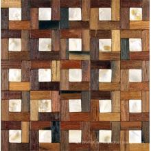 Hölzernes Mosaik-ungleiche Innenausstattungs-Hintergrund-Wand des alten Boots