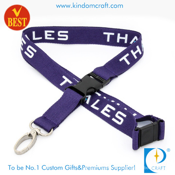 Wholesale High Quality Promotional Flat Polyester Printed Lanyard with Dog Clip From China
