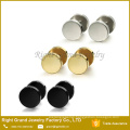316L Surgical Steel Mens Womens Black Gold Plated Stud Earrings Fake Plugs Tunnel