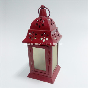 Metal Red Small Glass Hurricane Solar Lantern