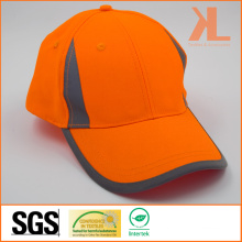 100% Polyester Safety Baseball Cap with Reflective Piping