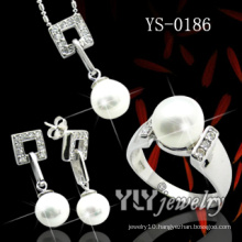 Lady′s Silver Jewellery Set with Pearl (YS-0186)