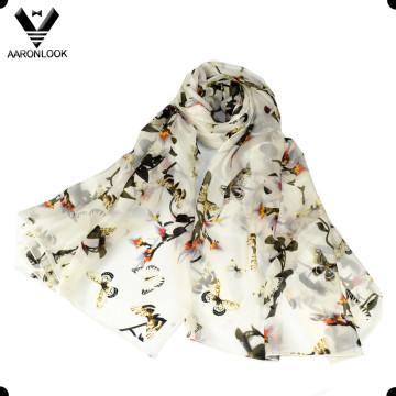 Impressão de alta qualidade borboleta e flor lenço de seda pura para as mulheres