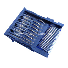 Plastic injection mold for electronic metal connector