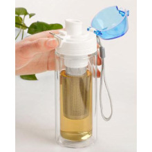 Portable Double Wall Glass Tea Bottle with Infusion