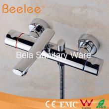 Mezclador de bañera de montaje ducha alta calidad latón pared con doble mango