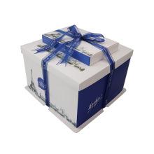 Customized Kraft clothing packing box lid blue card paper box