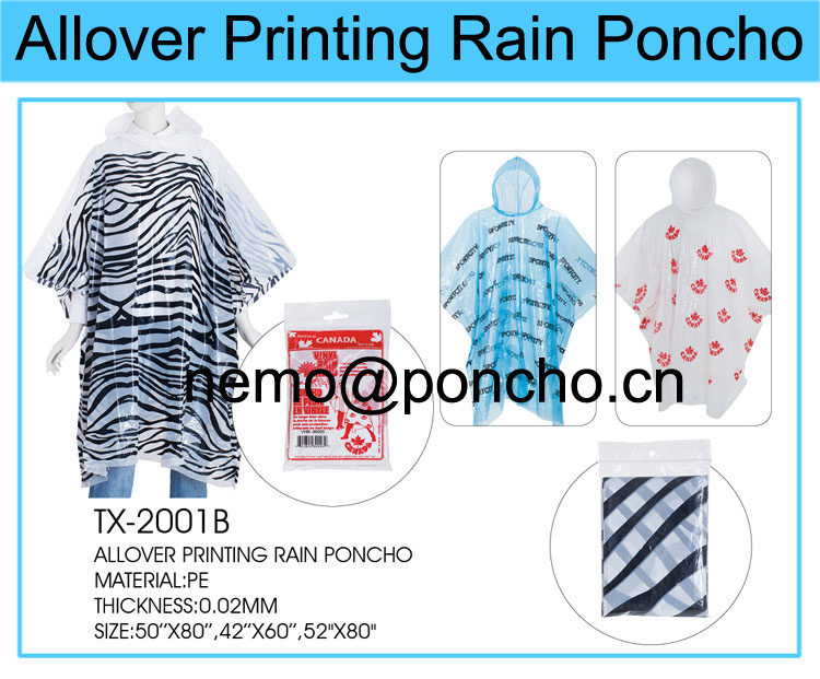 raincoat with one color printing