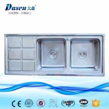 Dissipador dobro da cozinha da lavanderia DS12050 de aço inoxidável com placa de lavagem
