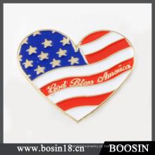 Atacado liga de prata personalizado esmalte coração EUA bandeira Pin broche