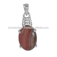 Hot Selling 2017 Natural Rhodochrosite Gemstone 925 Solid Silver Pendant Jewelry