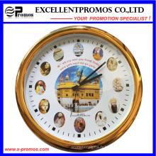 Impression de logo personnalisée de haute qualité Horloge murale en plastique ronde (Item23)
