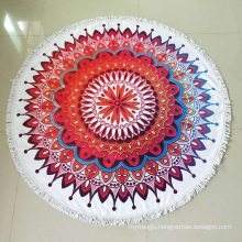 Wholesale Large Custom Fashion Print Round Chiffon Beach Towel With Tassel