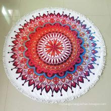 Wholesale Large Custom Fashion Print Round Chiffon Beach Towel With Tassel