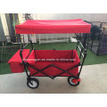 Wagon à baldaquin de couleur rouge avec frein