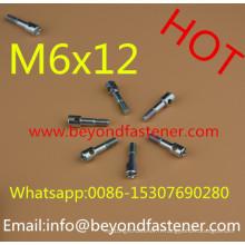 Vis à métaux M6X12 avec trou demi-fil