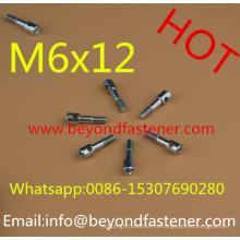 Машина винта M6X12 с отверстием половину резьбы