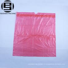 Sacs à ordures en plastique pas cher HDPE en rouleau rouge