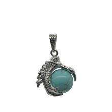 925 plata de ley turquesa 15 mm Sphere Dragon Claw colgante de joyería