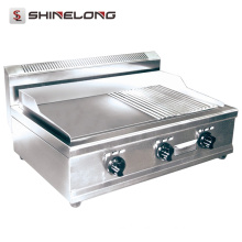 K482 Stainless Steel Counter Top Gas Half-Grooved Griddle