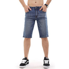 Homens Denim Shorts Rasgou Slim Fit Jeans