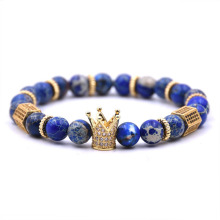 Custom blue gemstone bead crown bracelet mens