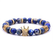 Personalizado azul piedras preciosas corona corona pulsera para hombre
