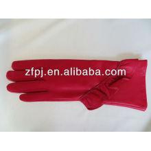 Damen High Grade Red Mid-Long polierte Lederhandschuhe