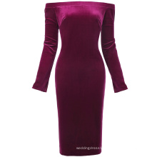 Kate Kasin Women's Long Sleeve Off Shoulder Hips-Wrapped Wine Velvet Bodycon Pencil Dress KK000500-3