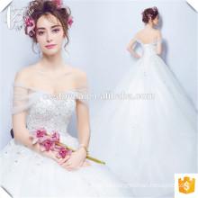 Romantische Spitze Applique Ballkleid Brautkleid bodenlangen ärmellosen Tüll Kleid für Hochzeitsfest 2016