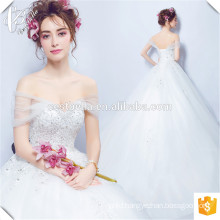 Romantic Lace Applique Ball Gown Wedding Dress Floor Length Sleeveless Tulle Dress For Wedding Party 2016