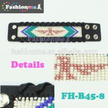 Bracelete de couro artesanais de borda trançada mais novo Fashionme