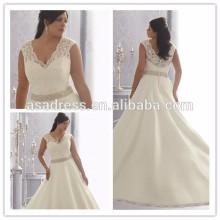 Las fotos de la muestra real impresionante más tamaño Lace Applique rebordear V-neckline piso longitud vestidos de novia atractivos 2015 (YASA-903)