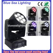 7pcs 12w Zoom RGBW Stage lights led mini moving head