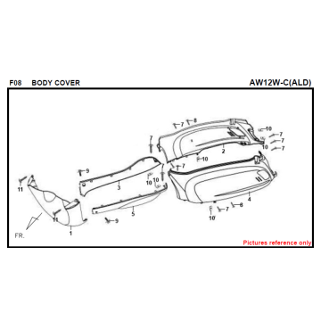 F08 BODY COVER FIDDLE 125 AW05W-C Per SYM Spare Part Top Quality