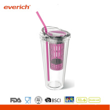 16oz Plastik Doppelwand Smoothie Cups Mit Kuppel Deckel Und Stroh
