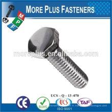 Fabriqué en Taiwan vis en acier au carbone en acier de haute qualité vis à tête hexagonale vis à vis hexagonale