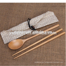 Viaje personalizado conjunto cuchara de sopa redonda de madera con palillos