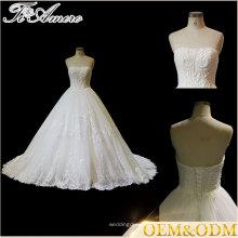 Tiamero Halter multi-couches en trois dimensions à la main en dentelle enroulée sans bretelles en fleurs sans dossier une ligne robe de mariée en mariée